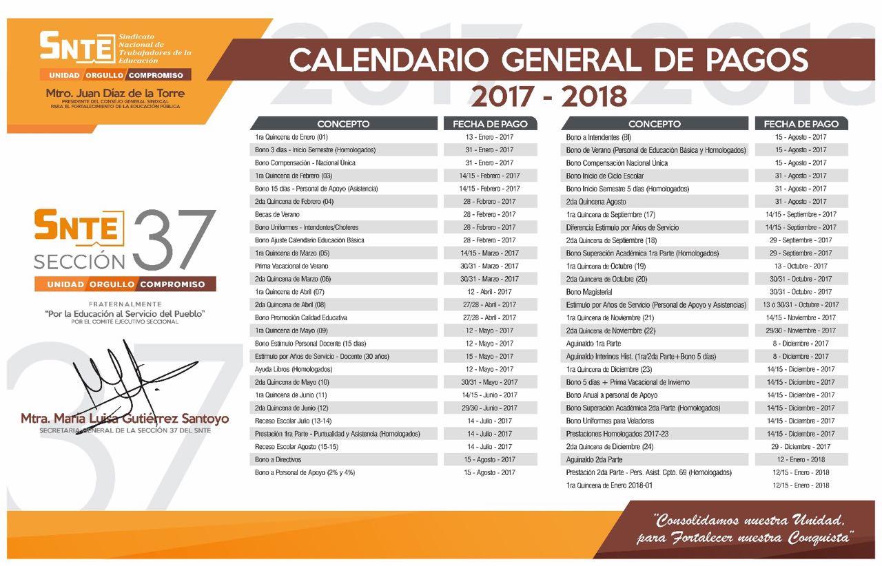 Calendario General De Prestaciones 2017